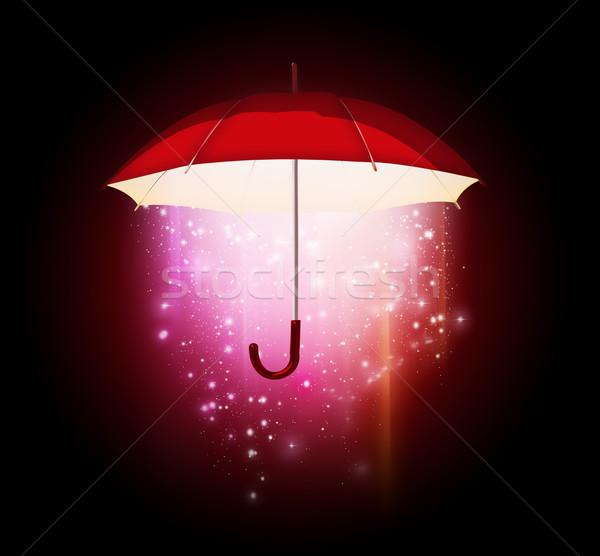 Varázslatos esernyő izzik sötét absztrakt technológia Stock fotó © zven0