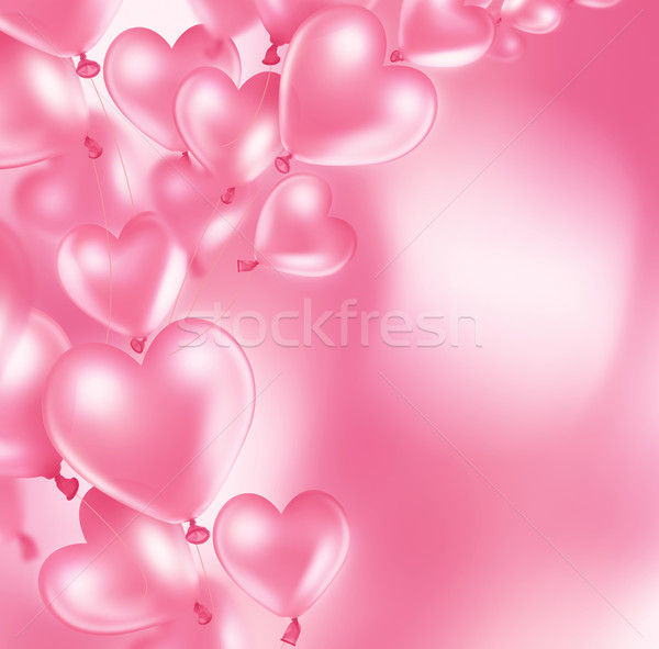 romantic card with pink heart balloons Stock photo © zven0