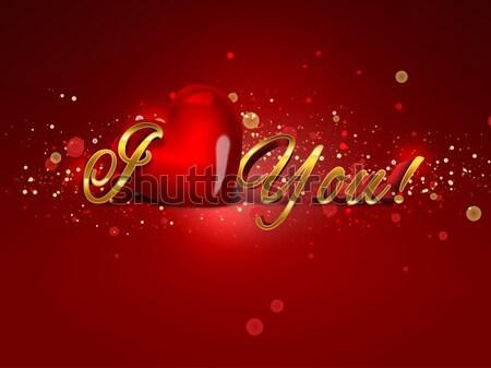 Stock fotó: Nyilatkozat · szeretet · szavak · szív · piros · kártya