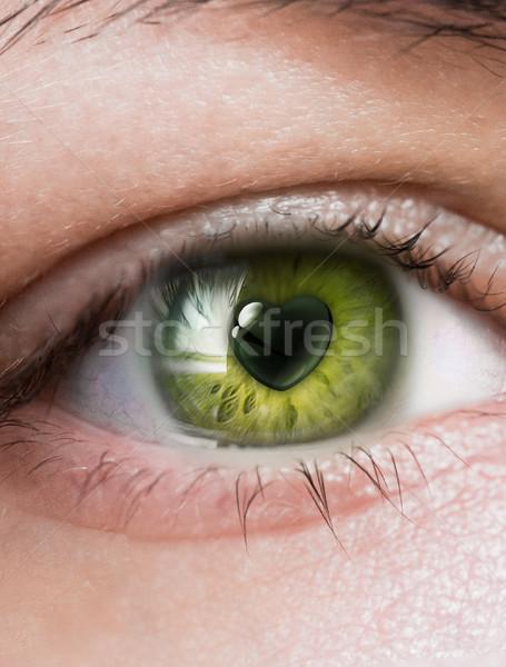 Kochający spojrzeć oka twarz serca Zdjęcia stock © zven0