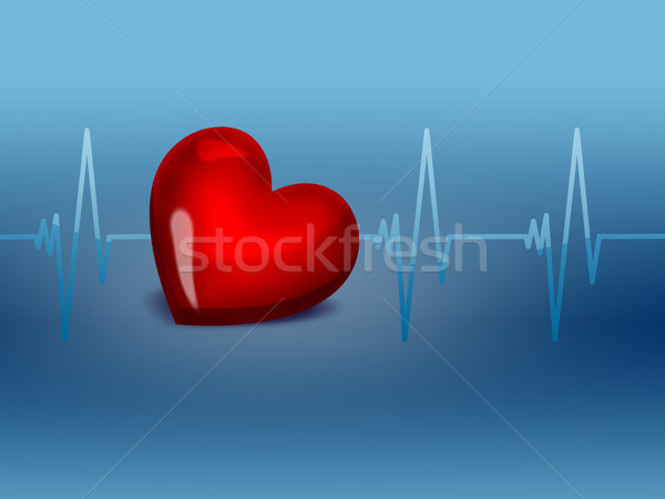 Electrocardiograma rojo corazón gráfico símbolo salud Foto stock © zven0