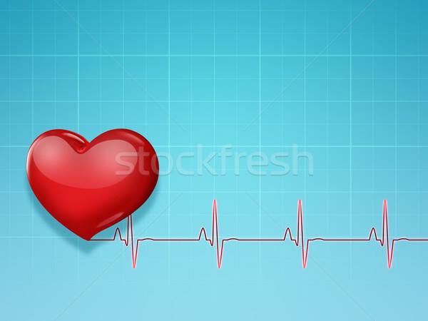 Medizinischen rot Herz Puls Liebe Hintergrund Stock foto © zven0