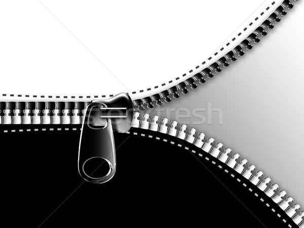 Cipzár nyitás feketefehér divat fém szövet Stock fotó © zven0