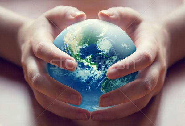 Welt menschlichen Hände Natur Palmen Reise Stock foto © zven0