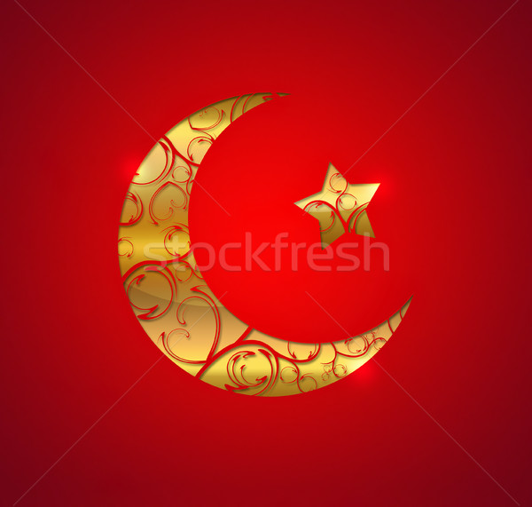 золото полумесяц звездой красный шаблон религии Сток-фото © zven0