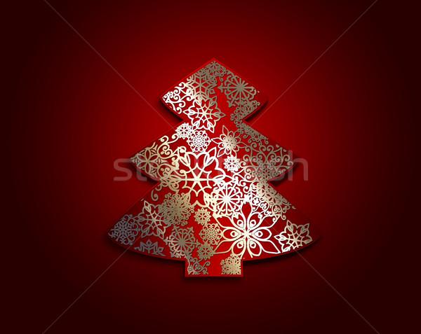árvore de natal vermelho papel flocos de neve padrão projeto Foto stock © zven0