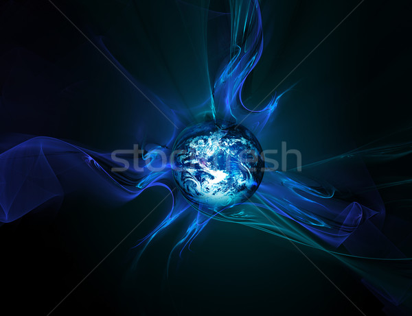 Absztrakt földgömb világ ragyogó szalagok üzlet Stock fotó © zven0