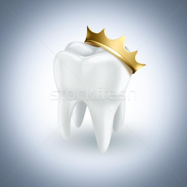Stok fotoğraf: Diş · altın · taç · ışık · sağlık · arka · plan
