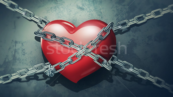 red heart in chains  Stock photo © zven0