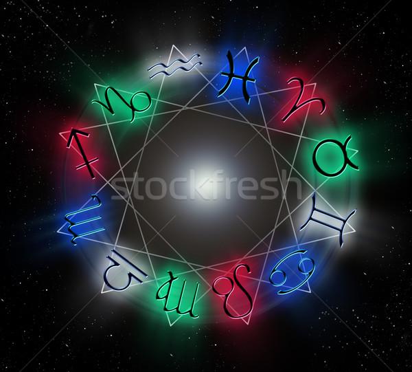 állatöv kör feliratok felirat csillag fekete Stock fotó © zven0