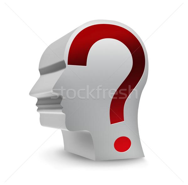 Desconhecido pessoa cabeça ponto de interrogação branco negócio Foto stock © zven0