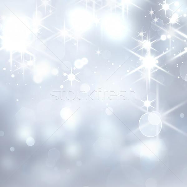Рождества серебро bokeh эффект фон Сток-фото © zven0