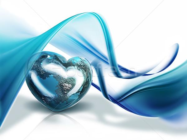 Serca świat planety formularza fale miłości Zdjęcia stock © zven0