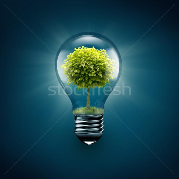 Foto stock: árvore · dentro · azul · folha · tecnologia