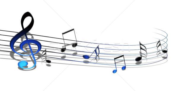 Stockfoto: Muziek · merkt · 3D · geïsoleerd · witte · sleutel · schilderij