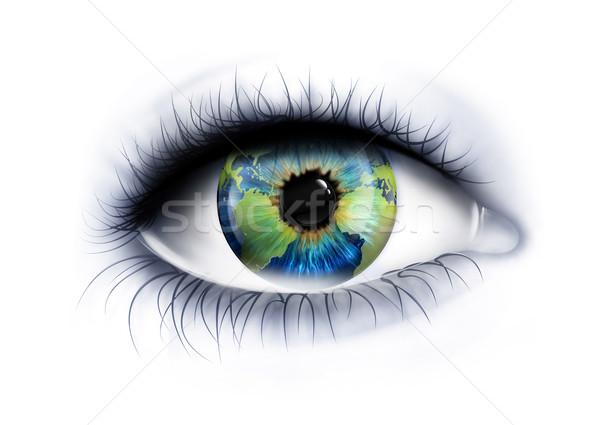 Planeta olho branco mapa segurança azul Foto stock © zven0