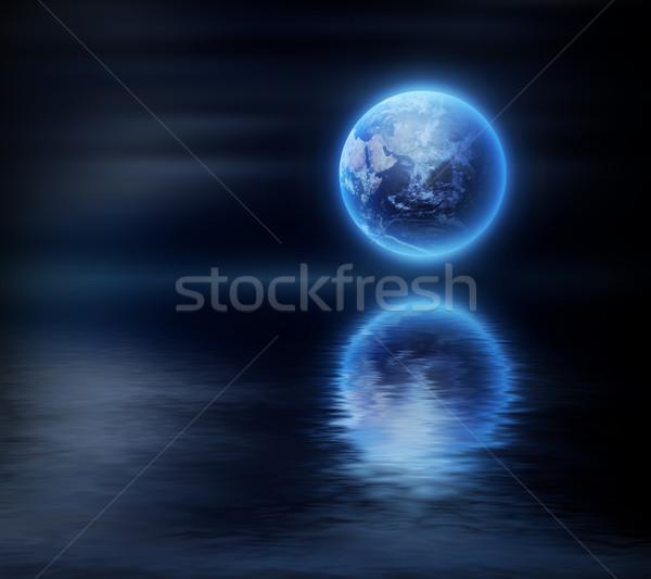 Fantasztikus tájkép éjszaka égbolt földgömb fény Stock fotó © zven0