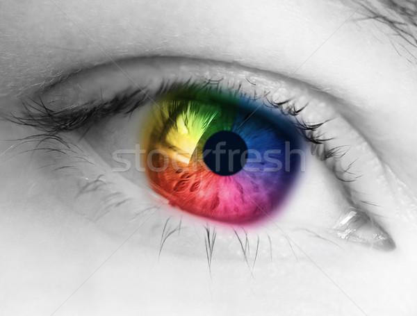 Сток-фото: радуга · глаза · ярко · моде · цвета