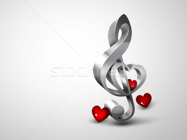 Szeretet zene violinkulcs forma szív fény Stock fotó © zven0