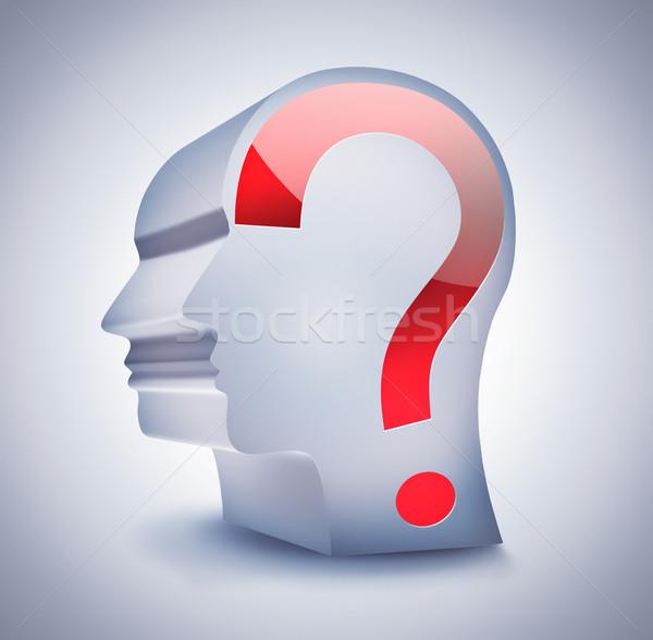 неизвестный человек голову вопросительный знак свет бизнеса Сток-фото © zven0