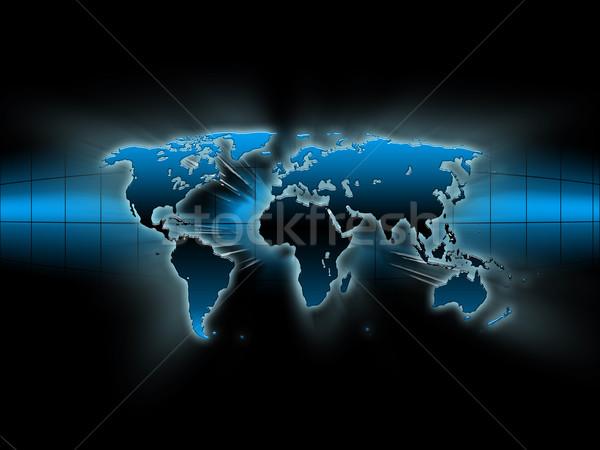 Kék térkép absztrakt világ fekete üzlet Stock fotó © zven0