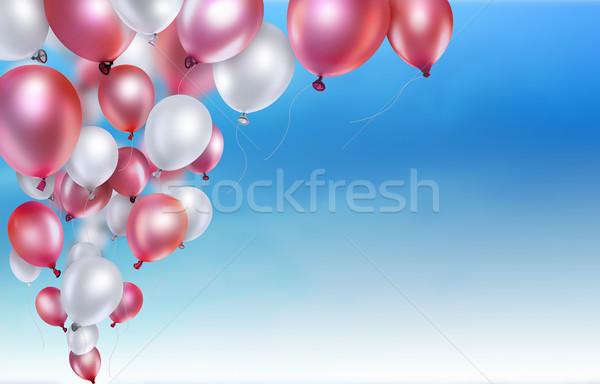 Stockfoto: Rood · witte · ballonnen · hemel · partij · achtergrond