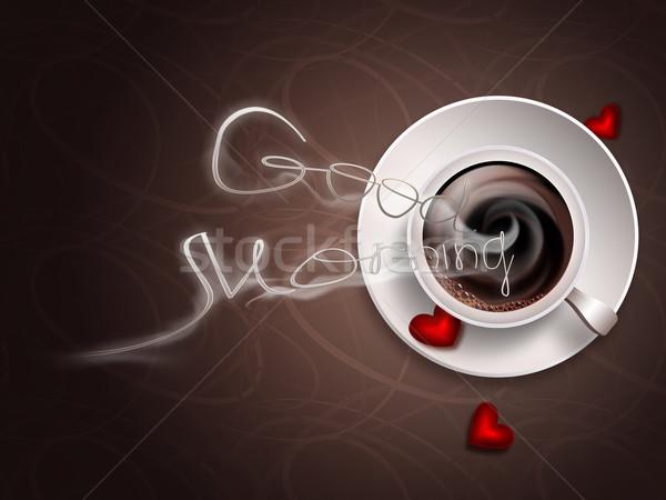 Bom dia imagem quente café beber energia Foto stock © zven0