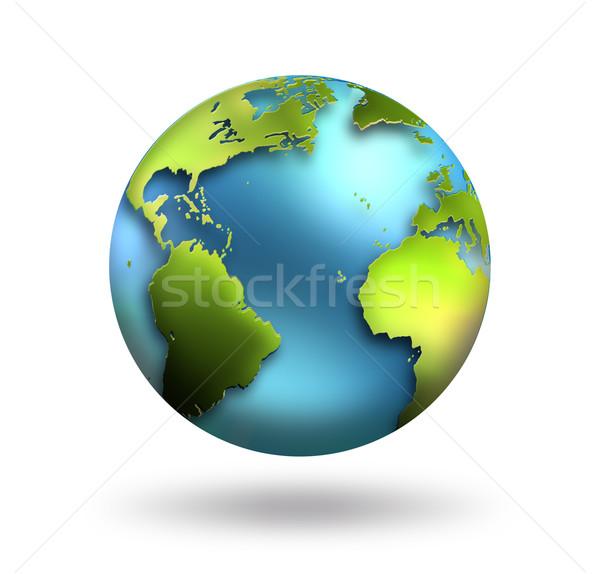 Мир планете Земля белый морем искусства синий Сток-фото © zven0