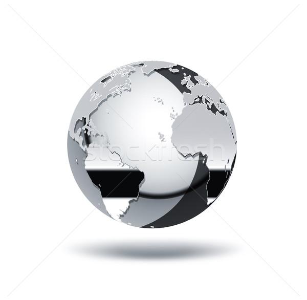Stockfoto: Chroom · wereld · witte · kaart · achtergrond · aarde