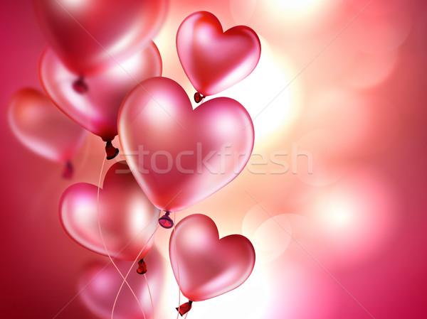 Romantyczny różowy balony serca ślub Zdjęcia stock © zven0