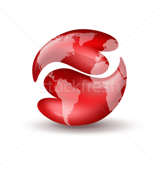 hearts yin yang symbol with world map Stock photo © zven0