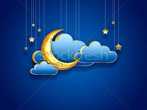 夜景 デザイン 三日月形 雲 星 光 ストックフォト © zven0