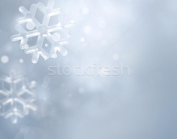 Kış gümüş bulanık kar taneleri soyut ışıklar Stok fotoğraf © zven0