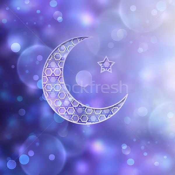 полумесяц звездой Purple Blur дизайна Сток-фото © zven0