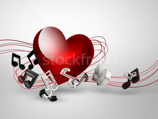 Zene szív jegyzetek textúra absztrakt terv Stock fotó © zven0