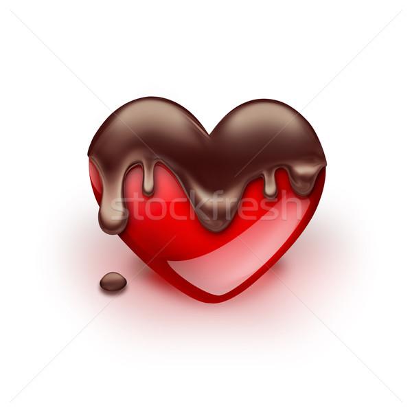 Rot Herz Schokolade weiß Liebe abstrakten Stock foto © zven0