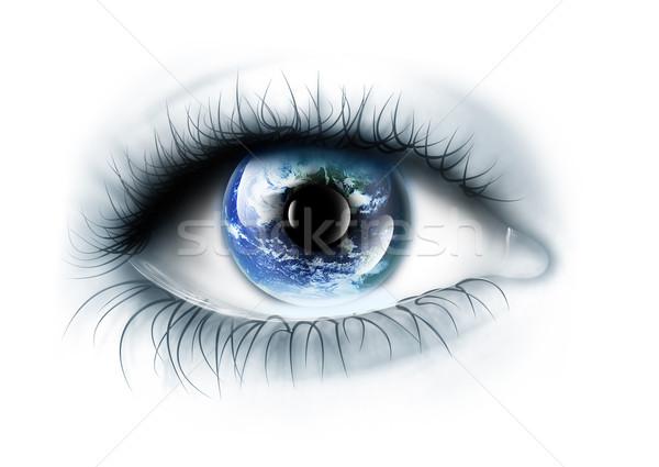 Foto stock: Planeta · olho · isolado · branco · olhos · mapa