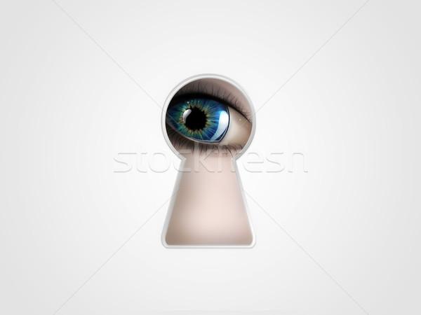 Olho buraco de fechadura porta assinar chave preto Foto stock © zven0