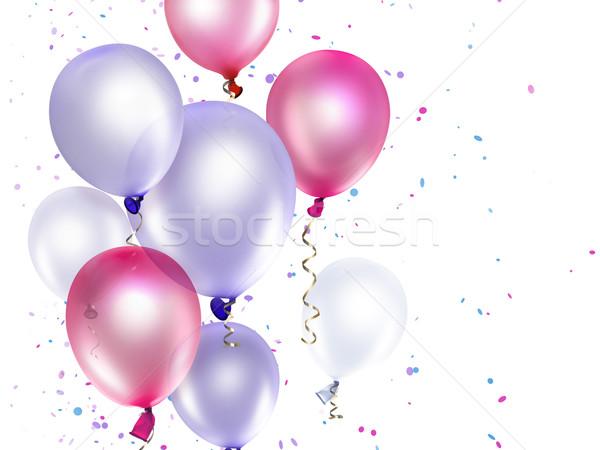 Rosa roxo balões feliz aniversário Foto stock © zven0