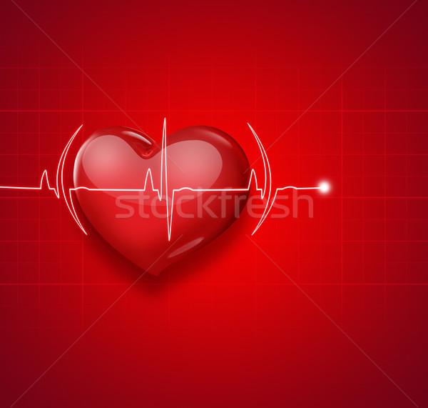 Médico vermelho coração pulso amor fundo Foto stock © zven0