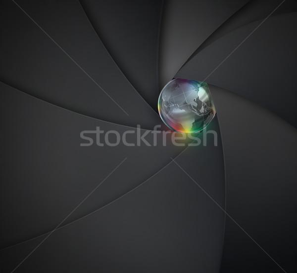 Lens camera wereld binnenkant business technologie Stockfoto © zven0