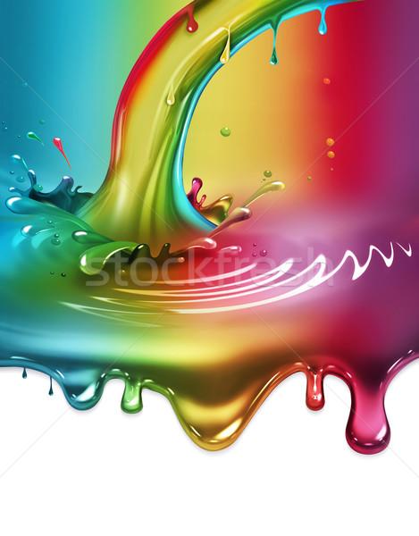 радуга краской всплеск аннотация красный чернила Сток-фото © zven0