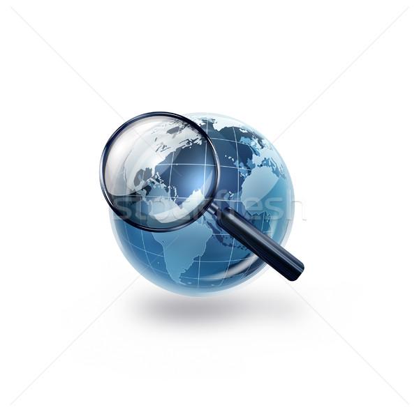 Dünya harita imzalamak web mavi Stok fotoğraf © zven0