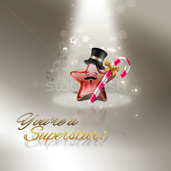 Superstar grappig wenskaart muziek licht star Stockfoto © zven0