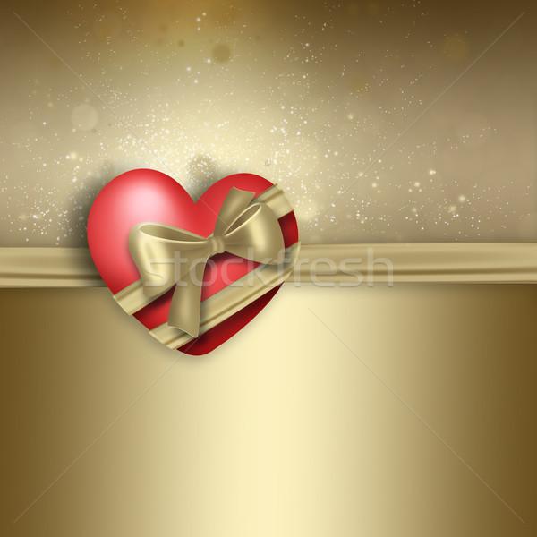 Romántica diseno corazón dorado resumen marco Foto stock © zven0