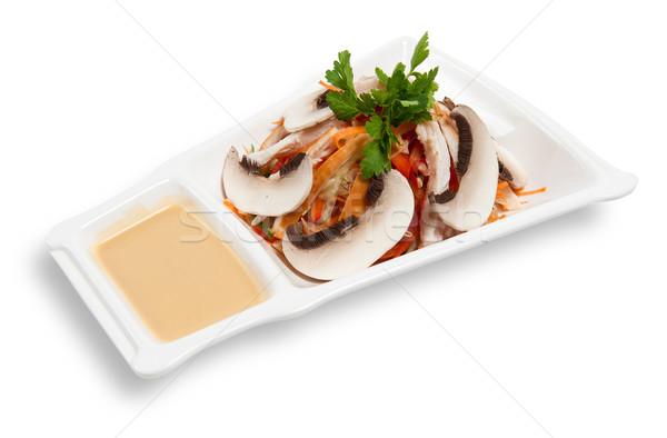 Stock fotó: Friss · zöldség · saláta · füstölt · tyúk · izolált · fehér