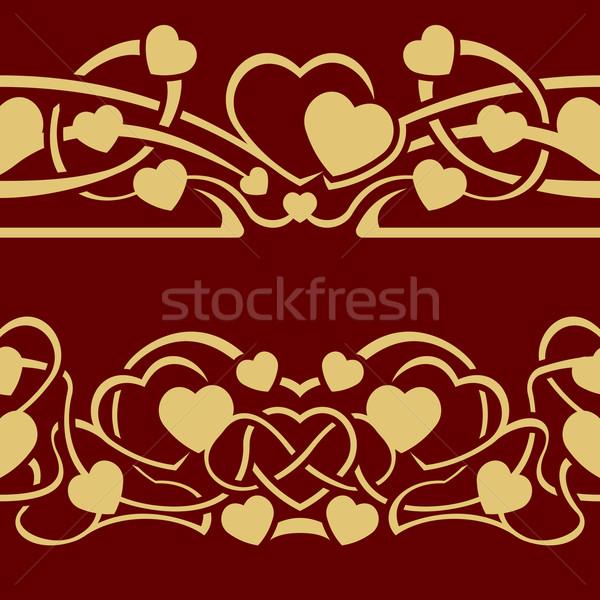 Ouro valentine sem costura fronteira coleção dia Foto stock © zybr78