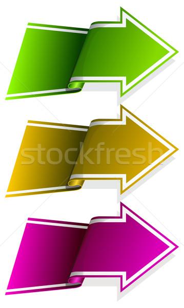 Toplama etiket ok kıvrılmış yan farklı Stok fotoğraf © zybr78