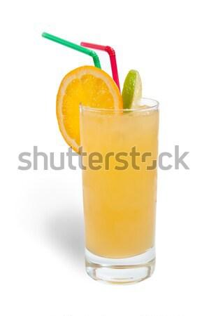 Foto stock: Fresco · suco · de · laranja · gelo · isolado · branco · comida
