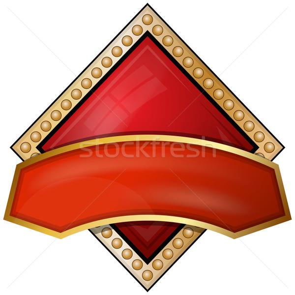 Gyémántok kártya öltöny ikonok szalag piros Stock fotó © zybr78